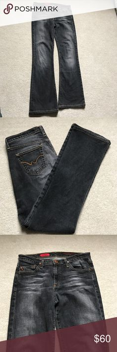 AG Adriano Goldschmied The Angel Jeans EUC AG jeans. Darker Denim jeans, factory distressed in amazing condition. Size 28 Regular with slight flare on bottom. Extremely comfortable. AG Adriano Goldschmied Jeans