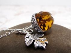 Glass Acorn And Oak Leaf Necklace $40.00