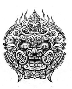 For more images ✖️ ✖️ Bali Barong Head Tattoos, Sleeve Tattoos, Cool Tattoos, Tatoos, Tattoo Sketches, Tattoo Drawings, Inka Tattoo, Balinese Tattoo, Foo Dog Tattoo