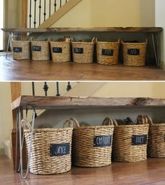 Stop tripping over sneakers and give everyone in your home a designated shoe basket — stored neatly under a putting-shoes-on bench. | 7 Easy Organizing Tricks You'll Actually Want To Try