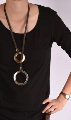 Statement Long Necklace Long Leather Necklace Gold & Silver pendant Y necklace Women Leather Necklace Long Lariat Pendant Big Pendant beauty women Leather Ring, Leather Necklace, Leather Jewelry, Silver Jewelry, Steampunk Necklace, Steampunk Diy, Gothic Jewelry, Cool Necklaces, Handmade Necklaces