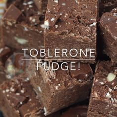 Sweet Easy DELICIOUS Toblerone Fudge to end all Toblerone Cravings. Nutty No-Bake Delectable treat for everyone! Tray Bake Recipes, Fudge Recipes, Candy Recipes, Chocolate Recipes, Sweet Recipes, Baking Recipes, Chocolate Tarts, Chocolate Fudge, Shortbread Recipes