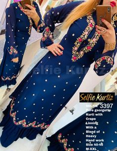 Embroidery Suits Punjabi, Embroidery Suits Design, Embroidery Fashion, Embroidery Designs, Embroidery Dress, Kurti Pakistani, Anarkali, Lehenga, Designer Party Wear Dresses