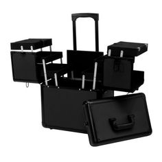 Salon Supply Store 2 Tier Rolling Makeup Storage Case, BLACK And BLACK TRIM, MCASE-440-BLBKT - Walmart.com