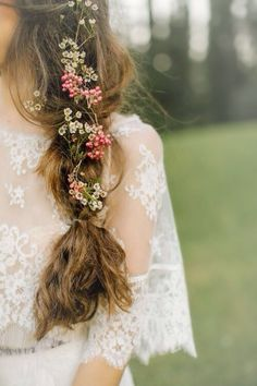Image via We Heart It https://weheartit.com/entry/170281492 #bridal #dress #feminine #flowers #hairstyle #lace #longhair #romantic #weddingday #weddinggown #white #bohochic