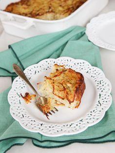 Easy, delicious recipe for potato kugel. Crispy and golden on the outside, fluffy on the inside. Kosher for Passover.