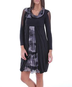 Take a look at this Anthracite Cowl Neck Dress by Merdor on #zulily today!
