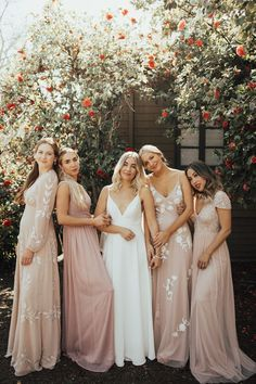 blush bridesmaids dresses on our BHLDN x Napa Valley Trip Gorgeous Wedding Guest Dresses Mismatched Bridesmaid Dresses, Wedding Bridesmaid Dresses, Bridal Party Dresses, Bridal Parties, Patterned Bridesmaid Dresses, Bridal Party Poses, Bohemian Bridesmaid, Blush Dresses, Brides And Bridesmaids