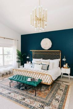 Bed Frame Ideas Statement Rattan Frame Teal Wall