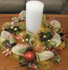 Deco Mesh Christmas Centerpiece Bling by PJCreativeWreaths on Etsy, $45.00 Christmas Arrangements, Holiday Centerpieces, Candle Centerpieces, Centerpiece Decorations, Xmas Decorations, Floral Arrangements, Deco Mesh Crafts, Wreath Crafts, Christmas Swags