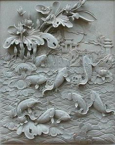 thegatz - Hand Carved Marble Relief Panel with Koi Fish, $1,790.00 (http://www.thegatz.com/hand-carved-marble-relief-panel-with-koi-fish/)