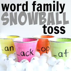 Word families can be a beneficial tool for teaching your child to read! This fun word family snowball toss incorporates decoding and gross motor fun! Word Family Activities, Phonics Activities, Activity Games, Kindergarten Activities, Activities For Kids, Phonics Lessons, Literacy Games, Language Activities, Teaching Kindergarten