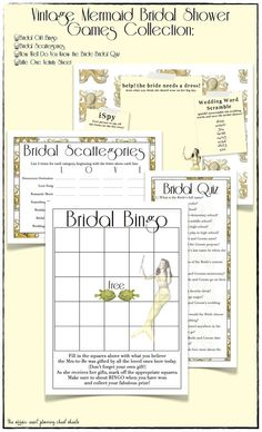 Yellow Vintage Mermaid Bridal Shower Game Package by TheAffairShop, $12.50