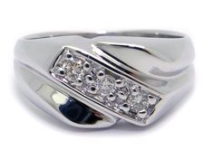 Mens 14k White Gold Round .12ct Diamond 9.5mm Wedding Band Ring Size 7.5 1980s by AntiqueJewelryLine on Etsy