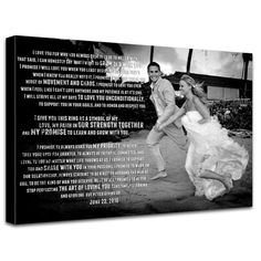 Wedding Photo and Words printed on Canvas Custom Quotes, sayings,vows lyrics Anniversary 20X40. $250.00, via Etsy.