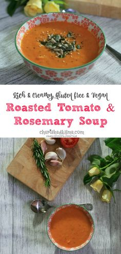 A delicious vegan and gluten free recipe for a creamy and garlicky roasted tomato & rosemary soup, perfect for lunch or dinner Casserole Recipes, Soup Recipes, Cooking Recipes, Fall Recipes, Clean Eating Tips, Clean Eating For Beginners, Healthy Snacks, Healthy Eating, Healthy Recipes