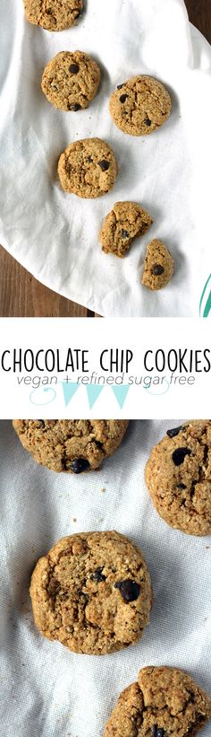 VEGAN Chocolate Chip Cookies - they're crisp soft, thick, and so comforting. Hard to believe they're filled with good-for-you ingredients!