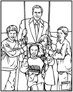 George W Bush Coloring Page | Purple Kitty