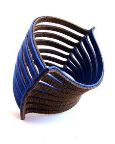 Royal blue grey cuff two tone multi strand bracelet by Shulili4U