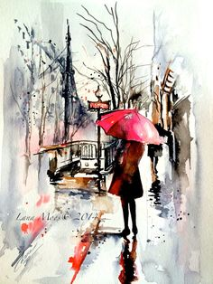 雨の日をおしゃれに描けたら最高。Paris Travel Watercolor Illustration - Original Watercolor by Lana Moes - Paris Inspired collection