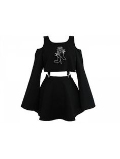 Scoop Neckline Open Schulter Top und Rock Set Scoop Neckline Open Shoulder Top and Skirt Set # Edgy Outfits, Teen Fashion Outfits, Anime Outfits, Mode Outfits, Cute Casual Outfits, Cute Fashion, Pretty Outfits, Girl Fashion, Girl Outfits