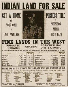 """Indian Land for Sale Poster - it is interesting to see how the Native American got cheated on """"their"""" land sales. Our government should be ashamed."""