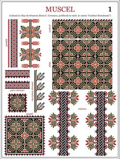 Semne Cusute: model de ie din Muscel embroidery patterns for the traditional Romanian costume in Muscel http://www.pinterest.com/irinapupaza/ia/