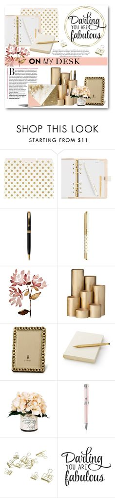 """On My Desk"" by lalalaballa22 ❤ liked on Polyvore featuring interior, interiors, interior design, home, home decor, interior decorating, Kate Spade, Parker, ferm LIVING and Jennifer Lopez"
