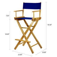 American Trails Extra-Wide Premium Director's Chair Natural Frame with Black Canvas, Counter Height Unique Home Decor, Home Decor Items, Outdoor Chairs, Outdoor Furniture, Outdoor Decor, Accent Furniture, Metal Furniture, Furniture Plans, Blue Canvas