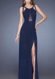 57a748edb4 Blue Plain Condole Belt Draped Irregular Backless Side Slit Round Neck  Elegant Prom Maxi Dress