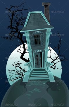 Haunted Halloween Witch House  #GraphicRiver