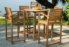 Somerset Teak Bar Stool and Bar Table from Westminster Teak Furniture