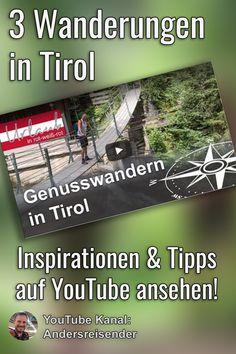 (Anzeige) 3 schöne Wanderungen in Tirol, die Du alle ohne Auto mit öffentlichen Verkehrsmitteln unternehmen kannst, findest Du in diesem Beitrag. Inspirationen & Tipps zum Wandern in der Silberregion Karwendel in den Orten Stans, Weer und Schwaz in Tirol als Video auf YouTube. #wandern #tirol #silberregionkarwendel #UrlaubOhneAuto Youtube Kanal, Outside Activities, Bike Rides