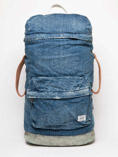 white mountaineering x porter men's used denim backpack