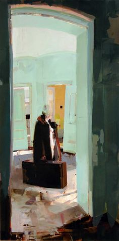 "A painting by Alex Kanevsky called ""Departure"". While the subject matter could be perceived as sad (a women is leaving her home with bags packed), the color and composition is lovely. I wish I owned this piece! Alex Kanevsky is represented at Dolby Chadwick Gallery in SF."