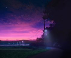 field grass highres lamppost mks mountain no_humans original path road scenery sky star_(sky) sunset tree Flower Landscape, Landscape Art, Dusk Sky, Night Skyline, Anime Places, Smile Images, Night Aesthetic, Environment Concept Art, Visual Development
