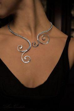Beauty gift Necklace choker necklace silver jewelry copper jewelry jewelry set curl gift for her Copper Jewelry, Wire Jewelry, Jewelry Sets, Jewelery, Handmade Jewelry, Jewelry Stores, Gemstone Jewelry, Jewelry Trends, Charm Jewelry
