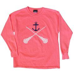 #LacrosseUnlimited Girls Lacrosse #Anchor Long Sleeve Tee In Adult And Youth Sizes