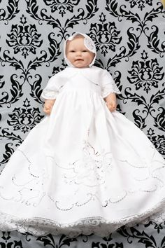 1930s cut-work table cloth christening gown