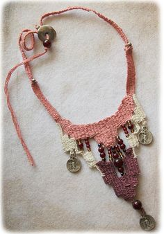 cotton handwoven necklace /belly dance by JewelryByFlorita on Etsy