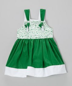 Green Shamrock Swirl Tie Dress - Toddler & Girls by Petite & Posh #zulily #zulilyfinds