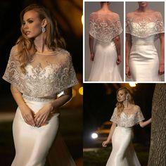 Short Rhinestone Bridal Wraps Beads Coat Jewel Neck Lace Jackets Wedding Capes Bolero Jacket Dress Plus Size