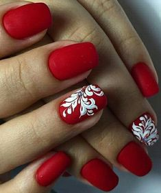 30 Classic Red and White Nail Art Designs #nailart