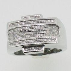 3D Iced Mens 2.40 Ct.Diamond Pinky Wedding Ring Round Pave Band 14K White Gold  | eBay