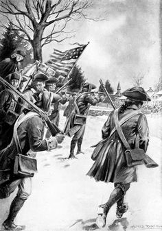 The Battle of Trenton took place on the morning of 12/26/1776, during the Revolutionary War, after General George Washington's crossing of the Delaware River north of Trenton, New Jersey. The hazardous crossing in adverse weather made it possible for Washington to lead the main body of the Continental Army against Hessian soldiers garrisoned at Trenton. After a brief battle, nearly the entire Hessian force was captured, with negligible losses to the Americans. (V)