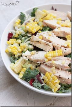 Kale, Corn, and Grilled Chicken Salad #healthy #detox #recipe.  I would leave off the kale and add spinach.