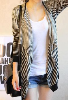 Stylish Loose Fitting Striped Long Sleeve Knit Cardigan for Women (BLACK,ONE SIZE) | Sammydress.com