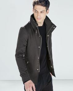 Image 2 of SHORT COAT WITH CONCEALED HOOD from Zara