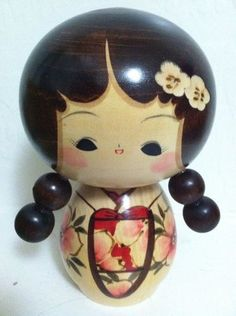 Wooden Japanese Kokeshi Doll with Pigtails | eBay