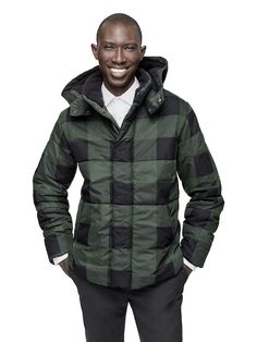 ef73b4be3d7 Adam Lippes for Target plaid puffer jacket on model Mens Fashion